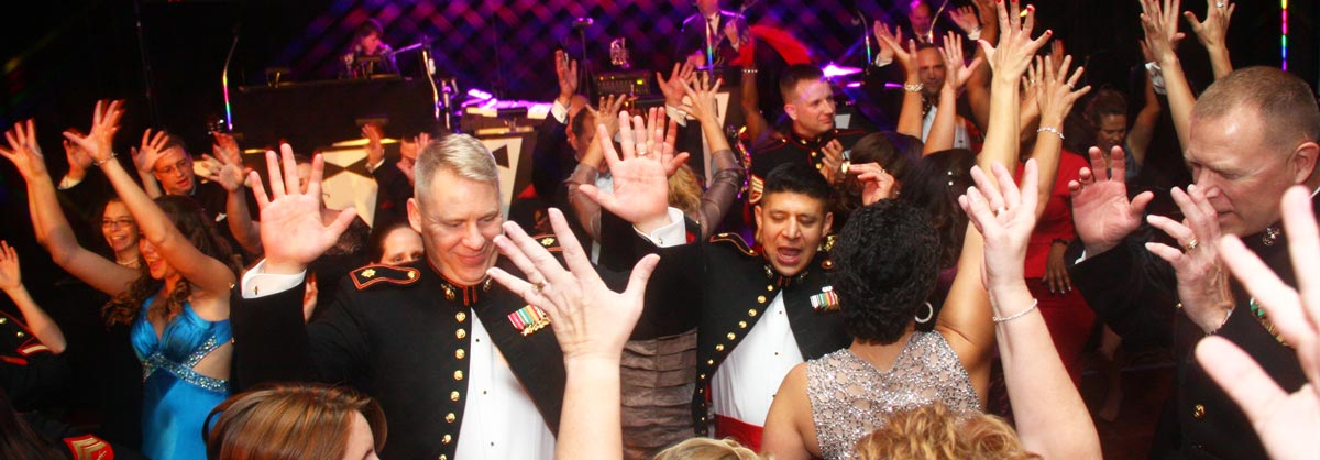 Retrospect Band performs for an enthusiastic crowd at al military ball