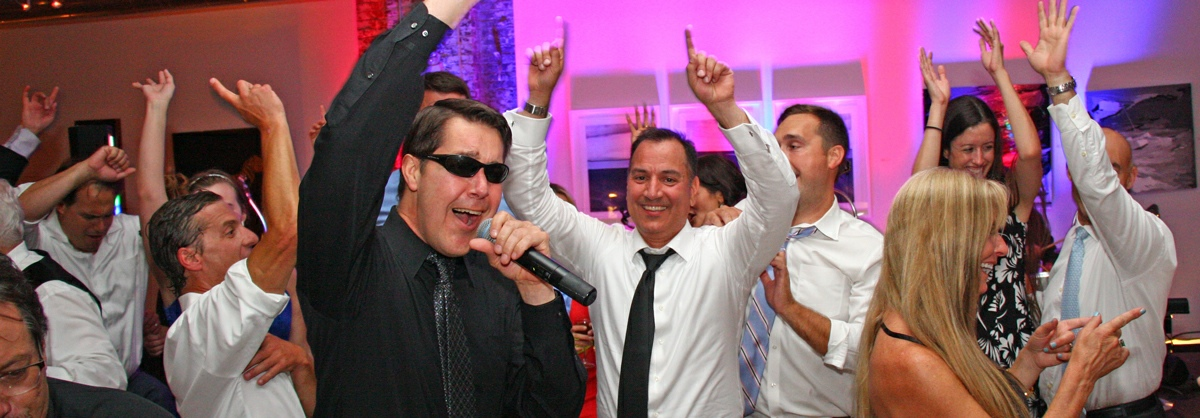 Lead singer Mike and Retrospect Band entertain guests at a Washington DC wedding