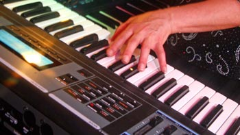 One of three keyboards utilized by Linda at a Retrospect Band performance