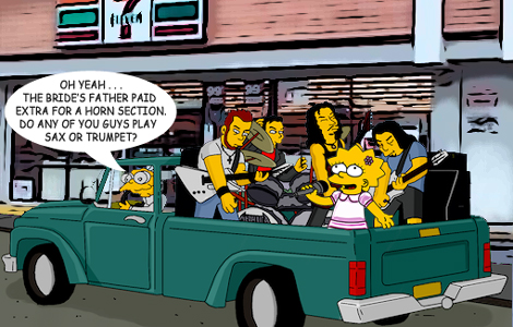Cartoon image of pickup musicians being hired for a wedding gig