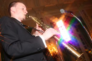 Retrospect Band sax player Charlie plays the soprano sax at a recent wedding