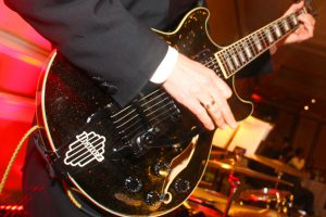 Close look at Retrospect Band guitar at a party in DC
