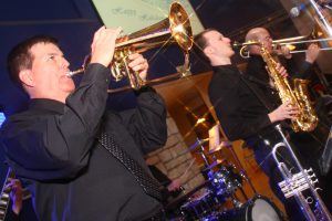 Retrospect Band horn section performs at a recent dance in Towson MD