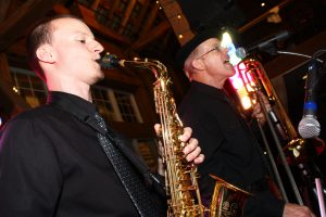 Retrospect Band members Charlie and Parker entertain guests at a recent PA wedding