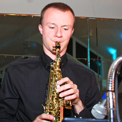 Retrospect Band sax player Charlie at a suburban Maryland wedding