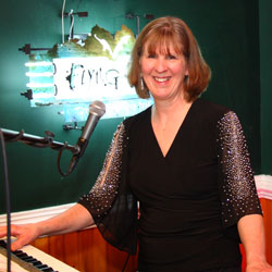 Retrospect Band keyboard player Linda at a hospice fundraiser on the Eastern Shore