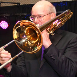 Retrospect Band trombone player Parker at a downtown DC party